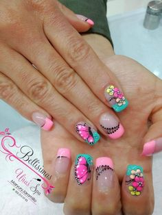 58 Ideas Nails Verano 2018 For 2019 Nail Tip Designs, Blue Nail Designs, French Nail Designs, Natural Acrylic Nails, Nails 2017, Finger Nail Art, Butterfly Nail, Pretty Nail Art, Easy Nail Art
