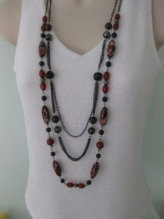 Long Chunky Black Red Beaded Necklace Multi by RalstonOriginals, $15.00