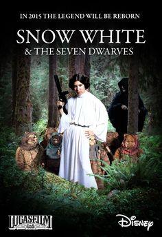 Księżniczka Leia i siedmiu Ewoków.
