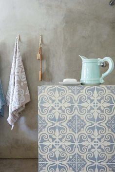 Shower Wall With Moroccan Tiles Concrete Wall Scandinavian