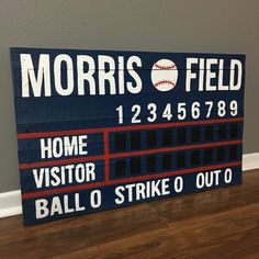 Baseball Scoreboard Various Sizing Custom Last Name Baseball Nursery, Baseball Scoreboard, Boys Baseball Bedroom, Baseball Games, Baseball Boys, Vintage Baseball Room, Softball Bedroom, Baseball Wall Decor, Baseball Crafts