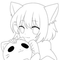 New line art drawings animals anime girls ideas Lineart Anime, Anime Chibi, Kawaii Anime, Anime Drawings Sketches, Anime Sketch, Easy Drawings, Anime Character Drawing, Cute Coloring Pages, Anime Poses Reference