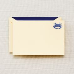 """Engraved Blue Crab Card: Translated from Latin, callinectes sapidus (our beloved blue crab) means """"beautiful savory swimmer."""" A specimen with such a superlative title deserves its perch in the corner of this engraved correspondence card. Perfect for a note from the Chesapeake Bay or an invitation to the beach home."""