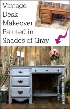 A vintage painted gray desk makeover in shades of gray. Layers upon layers, distressed and sealed for a weathered gray finish.