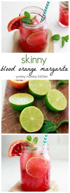 Skinny Blood Orange Margarita recipe with no simple syrup or refined sugars. This is so refreshing and tasty! Margarita Recipes, Easy Drink Recipes, Alcohol Recipes, Healthy Recipes, Refreshing Drinks, Yummy Drinks, Frozen Mixed Drinks, Cocktail Drinks, Recipes