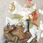 São Jorge, 58 cm. Muito linda, esta imagem!!! #SaoJorge #SaoJorge #SaoJorgeGuerreiro #Artesanato ArtCunha (21) 2445-1929 / 8558-3595. ArtCunha Artesanatos. Pecas, artefatos, estatuas e imagens sacras. Com ou sem pintura. Est. Bandeirantes, 829, Taquara, Rio de .Janeiro, RJ.