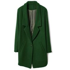 Single Buttoned Green Woolen Coat ($187) ❤ liked on Polyvore