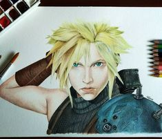 After a long time, I did a colored portrait again 😊🎨 The always beloved Cloud from Final Fantasy VII (can't wait to play the remake 😋)  .  What do you think, should I do more? .  .  .  #arts #creative #illustration #colorpencil #colorpencilart #worldofpencils #watercolorpainting #watercolors #worldofnerdart #gamingart #gaming #finalfantasy7 #art_dailydose #qc_artbattles #love_arts_help