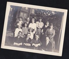 Old Vintage Antique Photograph Group of People / Family Standing in Backyard