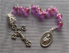 Handmade Saint Therese  8mm Pink Glass One by JaysReligiousGifts