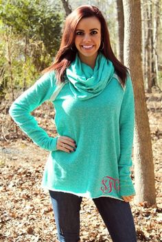 Thinking Out Loud Top - Mint with Monogram $58.99 #SouthernFriedChics