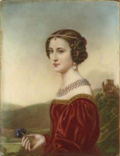 Cornelia Vetterlein (1812 - 1862) was born in Upper Franconia, the northern region of Bavaria. She was the daughter of State Councillor Vetterlein and granddaughter of Bayreuth Court Gardner Schneider. In 1843 she married Imperial Baron Franz Ludwig von Künsberg with whom she had a daughter. Portrait miniature by Joseph Karl Stieler, c. 1828.