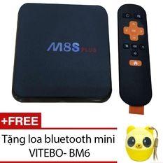 Android TV Box MBOX M8S Plus (Đen) + Loa bluetooth mini VITEBO- BM6 (Vàng)