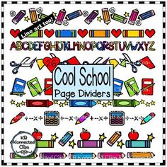 Cool School Page Dividers - Color & Line Art $ - 26 color and 19 line art