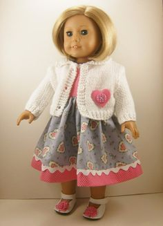 18 Inch Doll Clothes Fits American Girl Valentine's Day White Hand Knitted Sweater and Heart Print and Dotted Sleeveless Dress