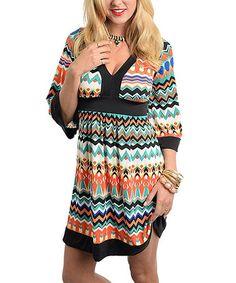 Loving this Black & Orange Zigzag V-Neck Dress on #zulily! #zulilyfinds