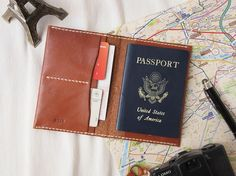 Personalized Passport Case - Leather - Hand Stitched