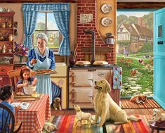 """In the back garden of this English country house sits Grandma's cottage, where she's entertaining the grandchildren with baking, reading and puppies. This delightful scene was painted by Steve Crisp and is the same image as Home Sweet Home, but with 300 extra large and easier to handle pieces. It has a finished size of 18""""x24"""""""