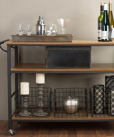 Brown Wood & Metal Lancashire Kitchen Cart by Baxton Studio #zulily #zulilyfinds