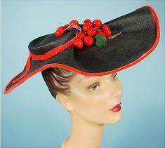 1943 MADELON HATS Navy Straw Skimmer Hat with Red Velvet Trim with Cherries
