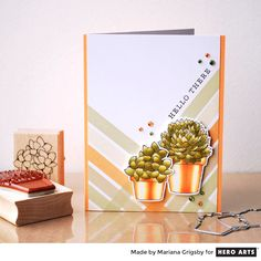 I love when I have in my hands stamps that can be colored using any of your favorite coloring techniques.  Today's card features a pair of pretty stamps called Potted Succulent and Small Pott…