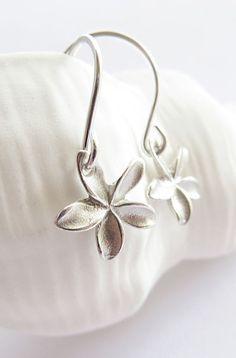 Pua Melia - Tiny plumeria earrings sterling silver, drop earrings
