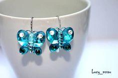 Náušnice - Náušničky motýliky-modré :)  od lucy_manu
