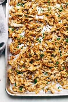 Homemade chicken carnitas made in the pressure cooker! These crispy chicken carnitas are quick and easy to make and so freakin' good!