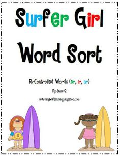 Surfer Girl Word Sort (r-controlled words er, ir, ur) Shape concentration Reading Tutoring, Reading Intervention, Teaching Reading, Teaching Phonics, Guided Reading, Learning, Teaching Ideas, Word Work Activities, Spelling Activities