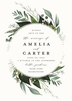 """""""Natures Greens"""" - Wedding Invitations in Ivory by Susan Moyal."""