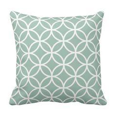 Mint Green and White Modern Geometric Pattern Pillows