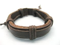 Shoply.com -Cuff Bracelet all brown leather and rope  fashion Jewelry  cowboy. Only $3.99