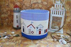 """Детская ручной работы. Ярмарка Мастеров - ручная работа. Купить Большой текстильный туесок """"Пляжные домики"""". Handmade. Синий, лён"""
