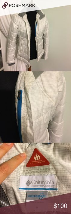 White & silver/Gray Columbia ski jacket sz Medium Columbia two-jackets in one 'Omni shield advanced interchange' Suze Medium. Worn three times, never skiing 🤦🏽♀️ Both jackets are awesome on their own and SUPER warm together. The bottom layer has finger holes. Lots of pockets and hooks for gear. Columbia Jackets & Coats Puffers