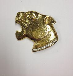 vintage fierce 80s jaguar head brooch signed by VintageSoulGeek, $18.00