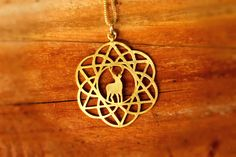 Gold Reindeer Necklace, Gold Mandala Necklace, Reindeer Pendant, Flower of Life Pendant, Gold Stag Necklace, Free shipping by TzufitMoshel on Etsy