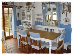 Shabby Cottage: Before and After Kitchen . Shabby Cottage, Hanging Planters, Home Goods, Dining Table, Kitchen Dining, Pergola, Furniture, Vintage, Home Decor