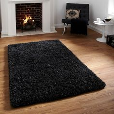 Shag pile wool rug Amazon Dark Blue - #Land #of #Rugs