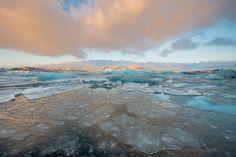 Ice Breaker - Sunrise at the Jökulsárlón Glacier Lagoon in Iceland. Bow Fiddle Rock near Portknockie, Moray, Scotland.