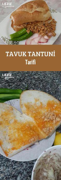 Tavuk Tantuni Tarifi Hamburger, Food And Drink, Pasta, Bread, Ethnic Recipes, Turkish Recipes, Brot, Baking, Burgers