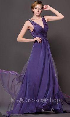 Long Halter V-neck High waist Chiffon Evening Dress MDSP204