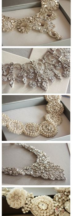 Gorgeous bridal statement necklaces - bridal jewelry http://rstyle.me/n/c5zp6n2bn They look more like belts than necklaces, but gorgeous anyway.