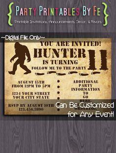 Printable Birthday Party Invitation ~ Bigfoot Big Foot Sasquatch Yeti  Birthday ~ I155