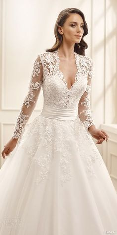 White Long Sleeve Wedding Dress with lace