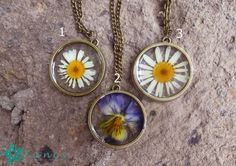 Botanical necklace  pressed flower pendant by FancyHandmadeArmenia