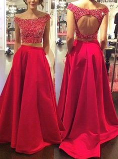 Cheap Nice Prom Dresses A-Line Two Piece Prom Dress/Evening Dress - Red Off-the-Shoulder A-Line Beading Evening Dress Cheap, Prom Dresses, Red Prom Dress, A-Line Prom Dress, Two Pieces Evening Dress Prom Dresses 2019 Prom Dresses Two Piece, Open Back Prom Dresses, Prom Dresses 2018, Backless Prom Dresses, Evening Dresses, Dress Long, Dress Prom, Grad Dresses, Long Dresses