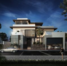 Private villa on behance House Architecture Styles, Amazing Architecture, Net Architecture, Contemporary Architecture, Contemporary Design, Modern Villa Design, Modern Architects, House Design Photos, Luxury Homes Dream Houses