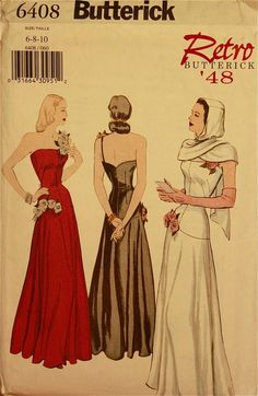 Dress & Hooded Scarf  1940's  Butterick Retro par patterntreasury, $38.95