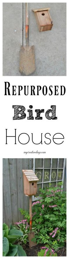 Are you looking for a cute way to add a bird house to your yard? This Repurposed Bird House is simple to do and it adds a touch of fun to wherever you place it.