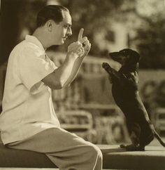 I loved William Powell, how cool he had a dachshund! Playing with his Dachshund, Jerry Dachshund Art, Dachshund Puppies, Weenie Dogs, Daschund, Dachshund Quotes, Doggies, Memes Humor, Chihuahua, William Powell
